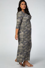 Olive 3/4 Sleeves Camo Print Plus Maxi Dress