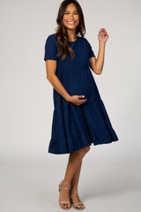 Navy Blue Swiss Dot Short Sleeve Maternity Dress