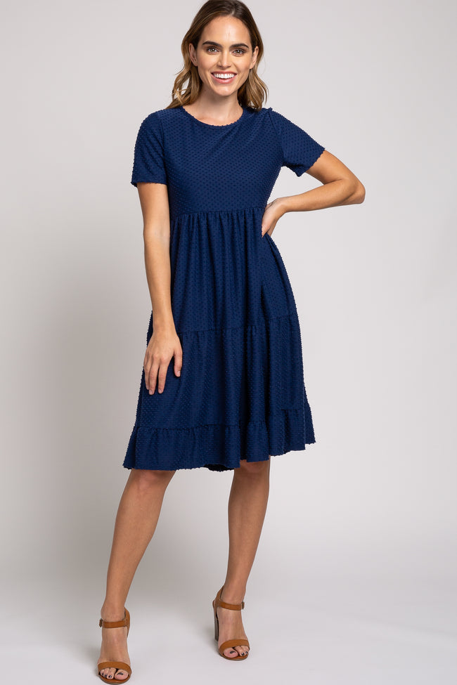 Navy Blue Swiss Dot Short Sleeve Dress