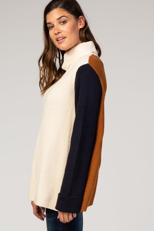 Cream Colorblock Turtleneck Sweater