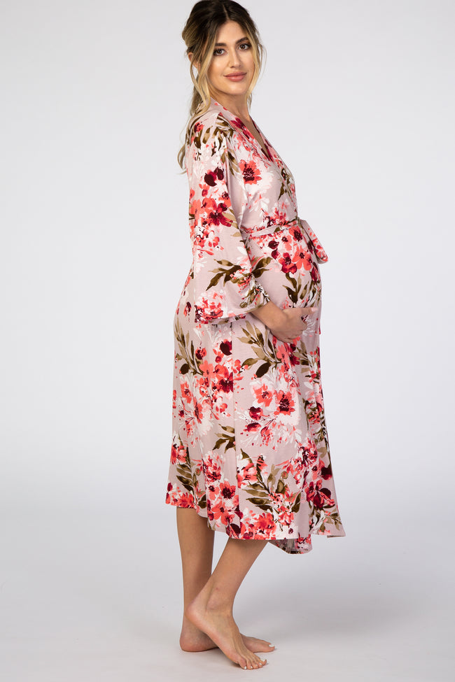 PinkBlush Grey Floral Delivery/Nursing Maternity Robe