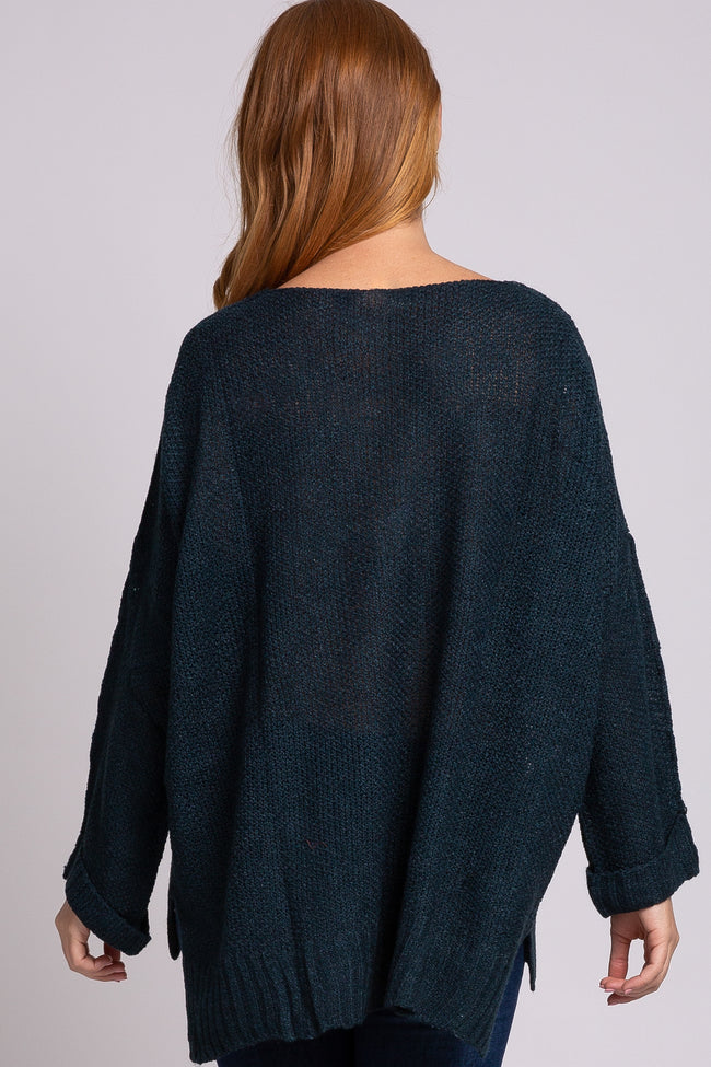 Emerald V-Neck Cuffed Long Sleeve Sweater