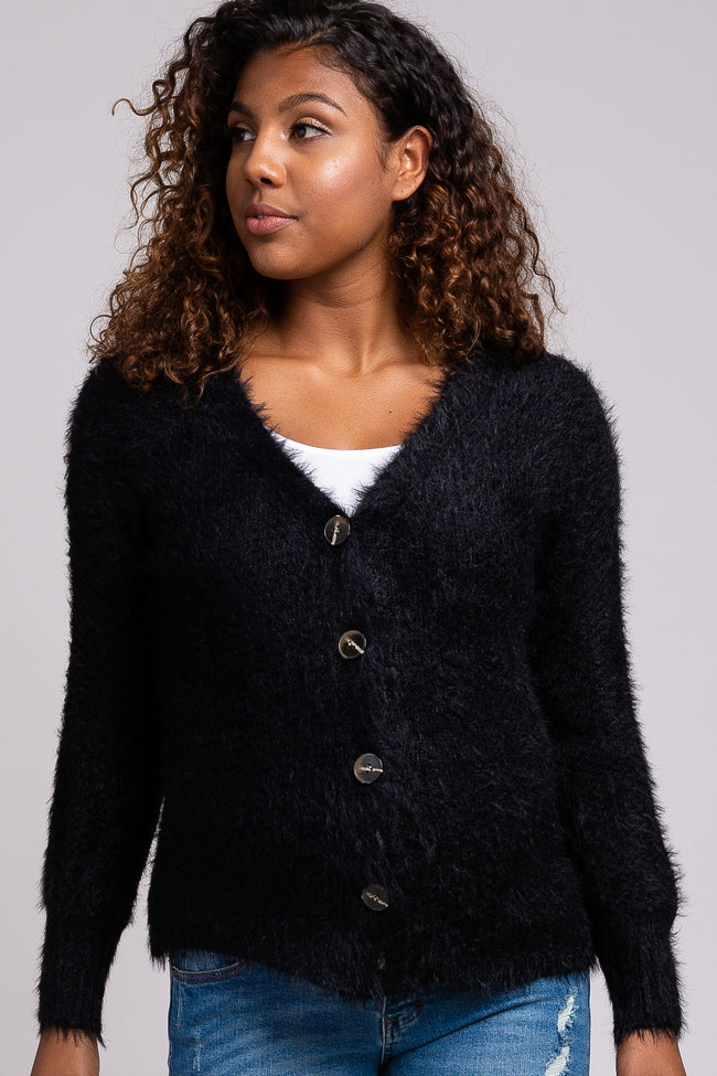 Black Fuzzy Knit Button Front Maternity Cardigan