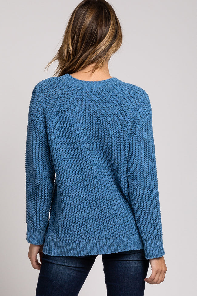 Blue Chenille Braided Accent Sweater