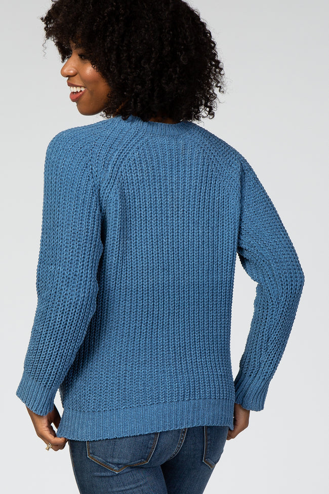 Blue Chenille Braided Accent Maternity Sweater
