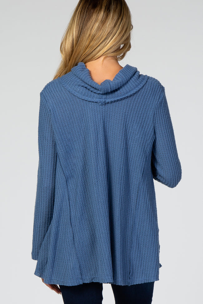 Blue Waffle Knit Cowl Neck Maternity Top