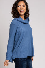 Blue Waffle Knit Cowl Neck Top