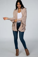 Beige Drop Shoulder Dolman Sleeve Open Front Knit Cardigan