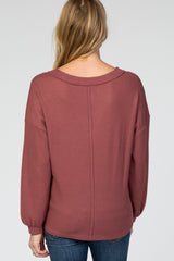 Mauve Waffle Knit Button V-Neck Maternity Top
