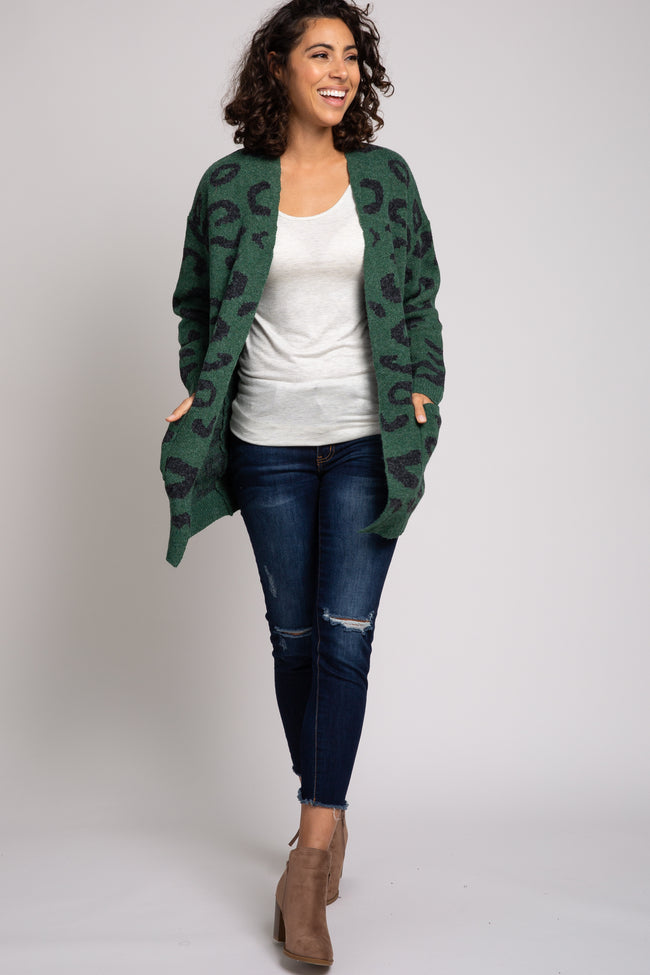Green Cheetah Print Cardigan