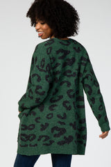 Green Cheetah Print Maternity Cardigan
