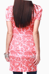 Coral White Rose Print Maternity Tunic