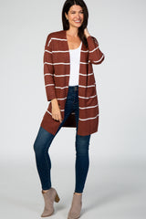 Rust Striped Soft Knit Cardigan