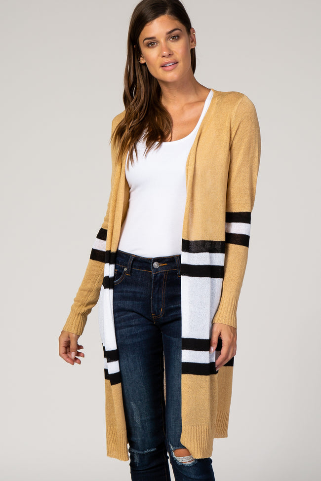 Camel Striped Long Cardigan