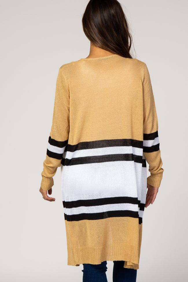 Camel Striped Long Maternity Cardigan