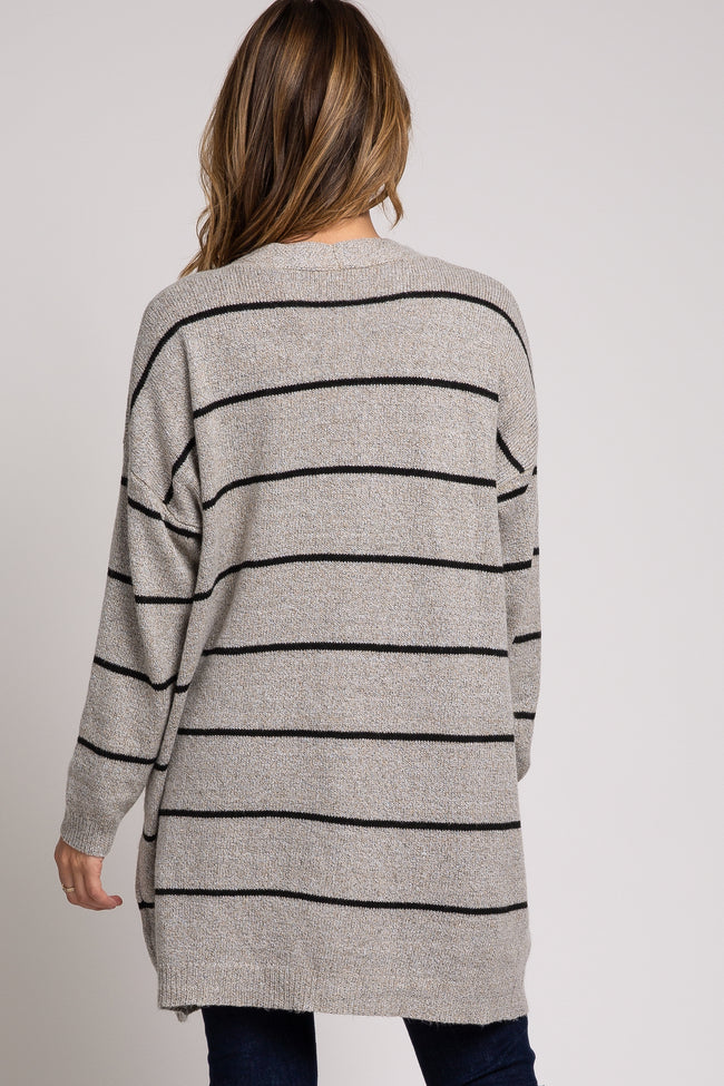 Taupe Striped Soft Knit Cardigan