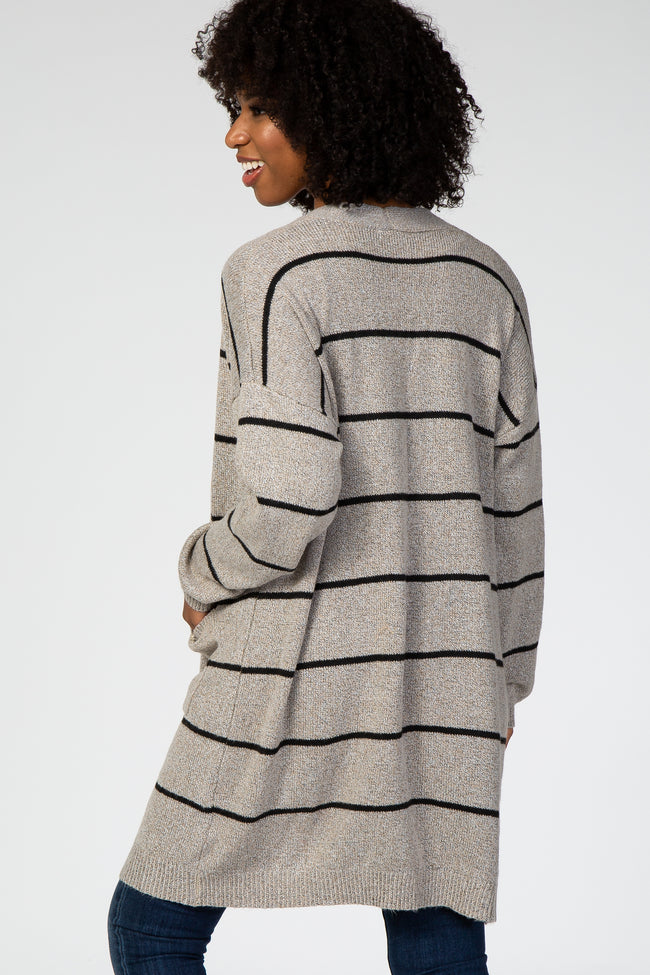 Taupe Striped Soft Knit Maternity Cardigan
