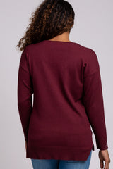 Plum V-Neck Lightweight Maternity Sweater