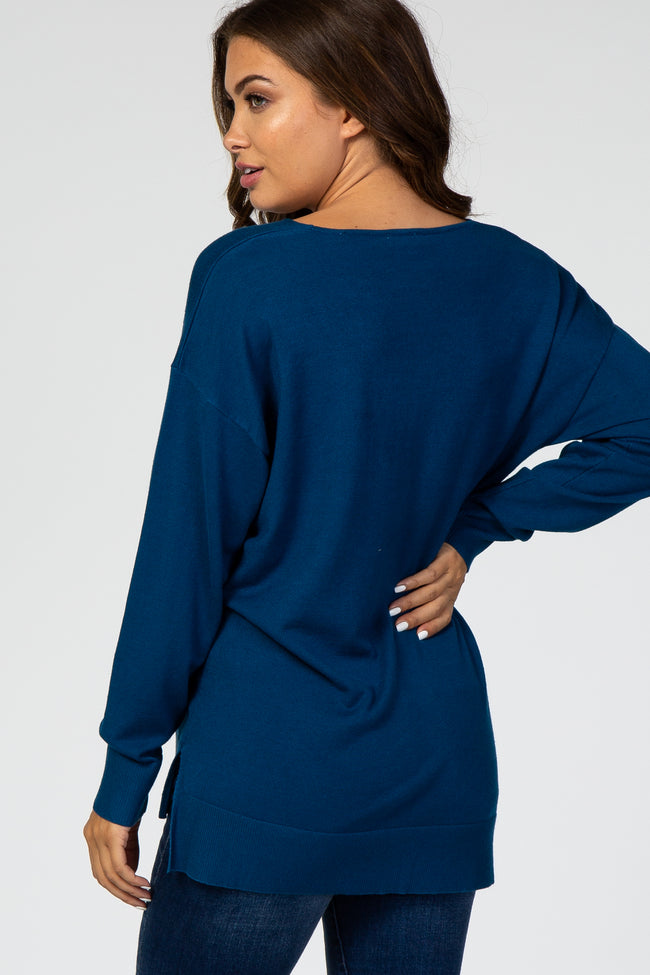 Teal V-Neck Lightweight Maternity Sweater