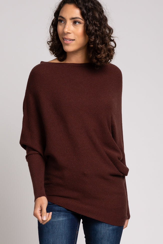 Brown Rib Knit Off Shoulder Maternity Sweater