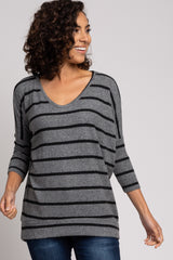 Charcoal Striped Soft Brushed Maternity Top