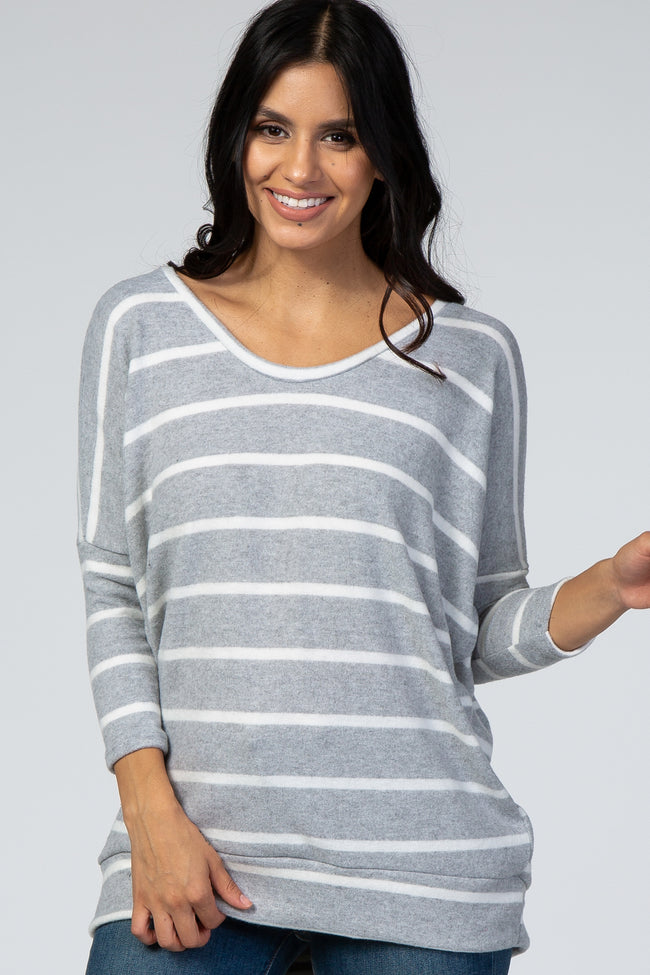 Heather Grey Striped Soft Brushed Top