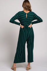 Green Long Sleeve Striped Tie Waist Round Neck Jumpsuit