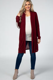 Burgundy Lace Applique Maternity Cardigan
