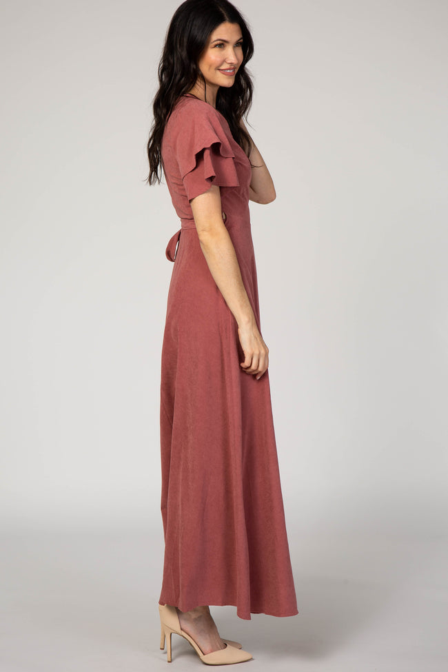 Mauve Layered Sleeve Wrap Maxi Dress