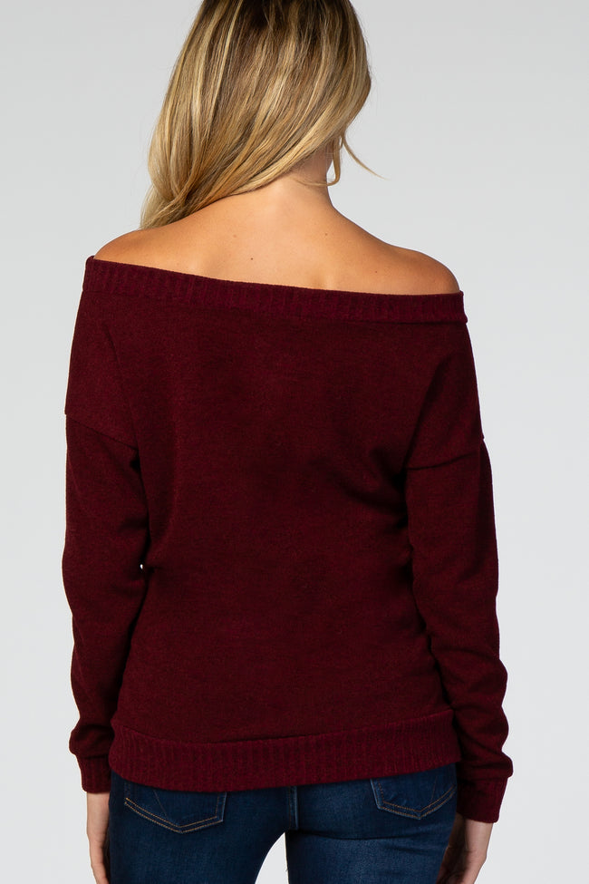 Burgundy Off Shoulder Long Sleeve Maternity Top