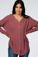 Mauve Waffle Knit Button Front Suede Elbow Maternity Top