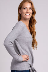 Grey Tie Front Knit Sweater