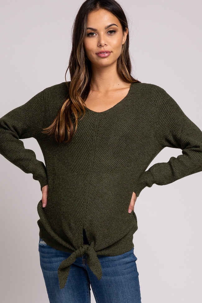 Olive Tie Front Knit Maternity Sweater