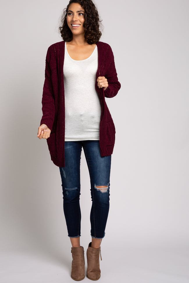 Burgundy Cable Knit Cardigan