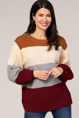 Burgundy Striped Colorblock Balloon Sleeve Sweater