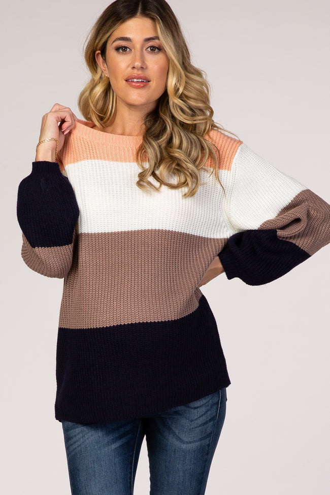 Navy Blue Striped Colorblock Balloon Sleeve Maternity Sweater