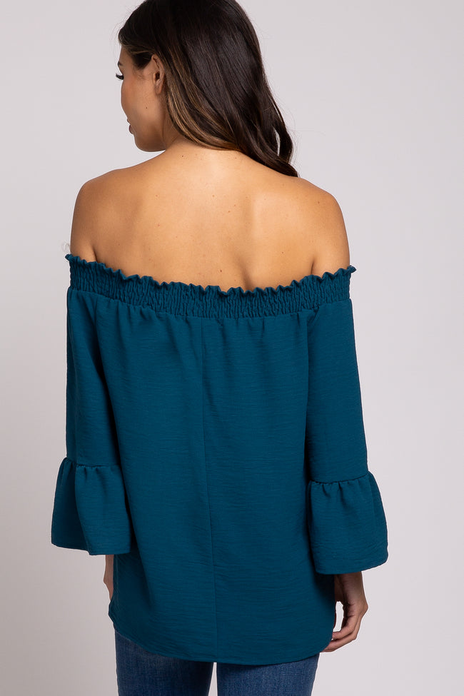 Teal Smocked Off Shoulder Ruffle Sleeve Maternity Top