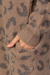 Taupe Leopard Print Hooded Knit Sweater Dress