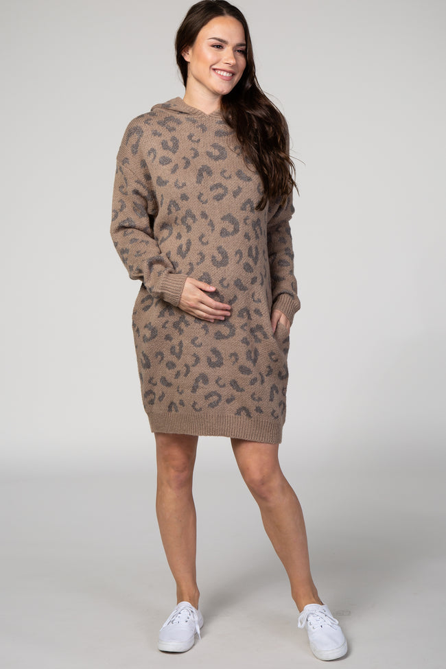 Taupe Leopard Print Hooded Knit Maternity Sweater Dress
