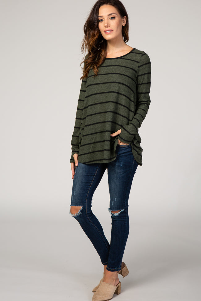 Olive Striped Crisscross Back Long Sleeve Top