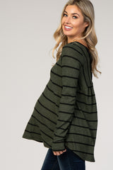 Olive Striped Crisscross Back Long Sleeve Maternity Top