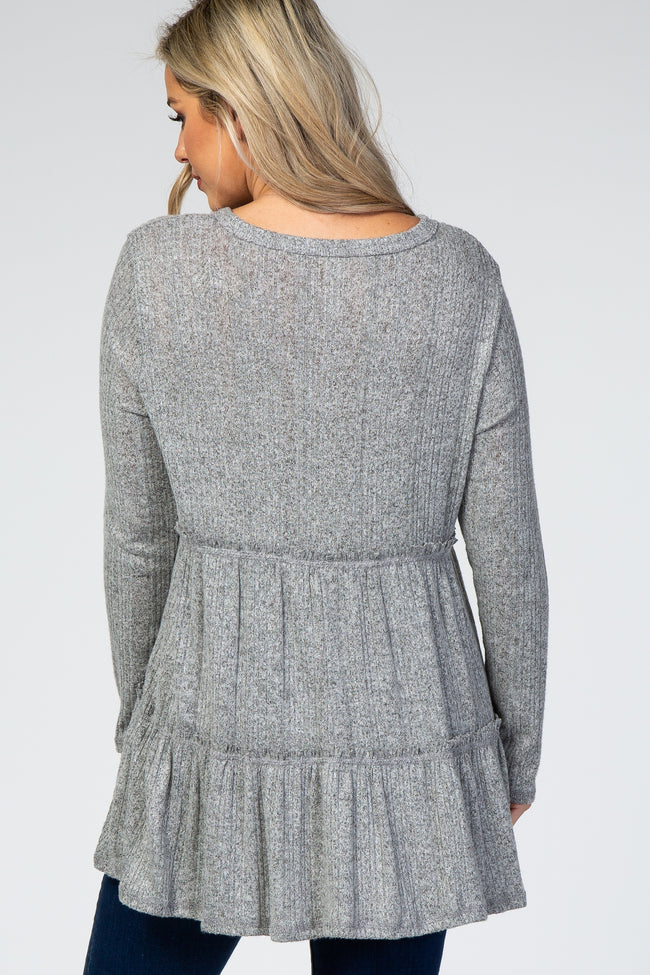 Heather Grey Tiered Soft Brushed Rib Knit Maternity Top