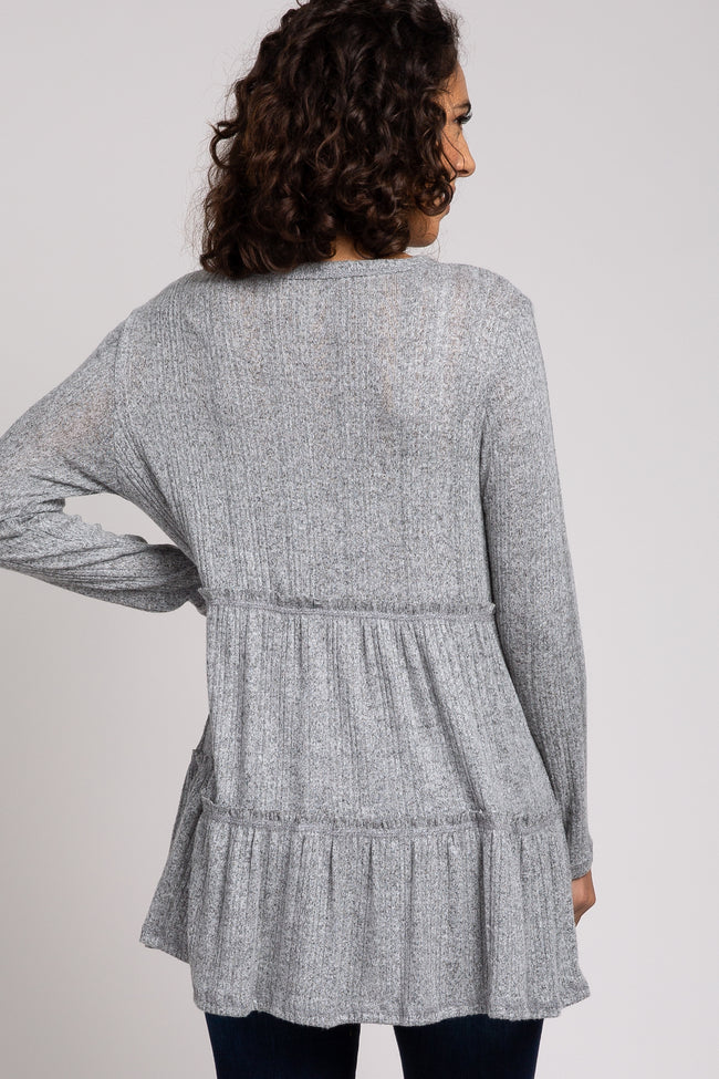 Heather Grey Tiered Soft Brushed Rib Knit Top