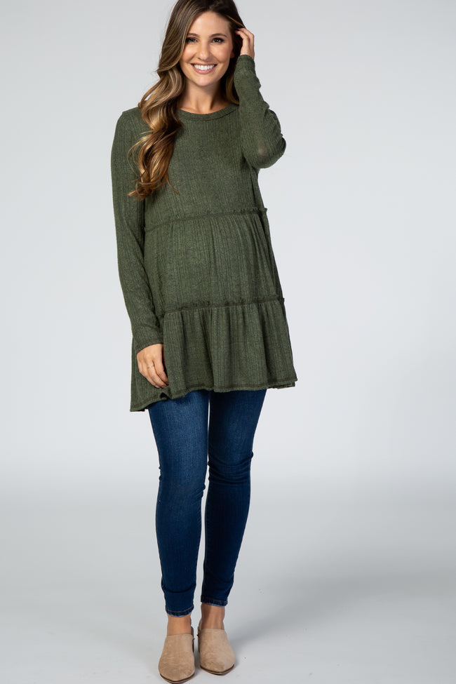 Olive Tiered Soft Brushed Rib Knit Maternity Top