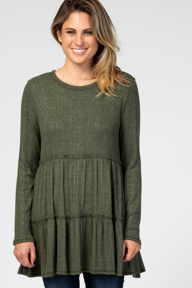 Olive Grey Tiered Soft Brushed Rib Knit Top