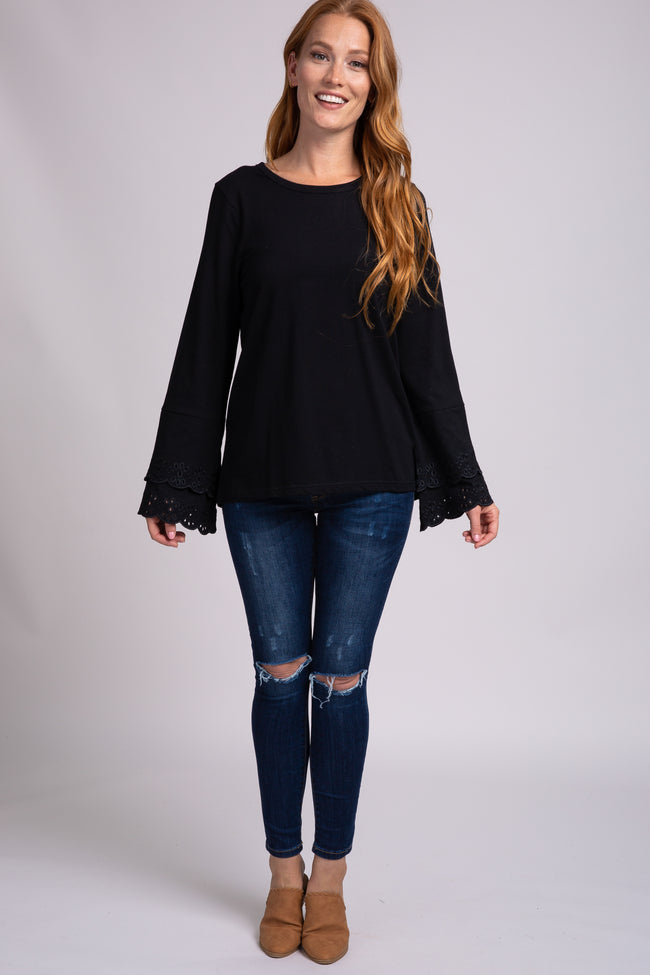 Black Layered Eyelet Sleeve Top