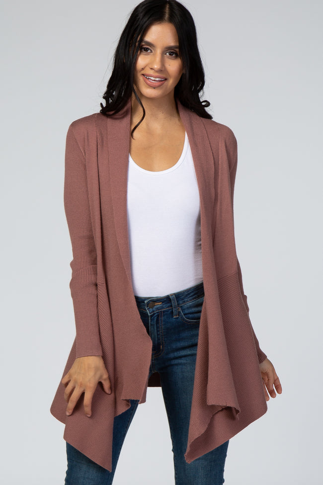 Mauve Ribbed Knit Draped Front Maternity Cardigan