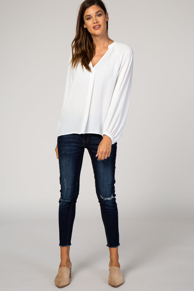 White Chiffon Balloon Sleeve Blouse