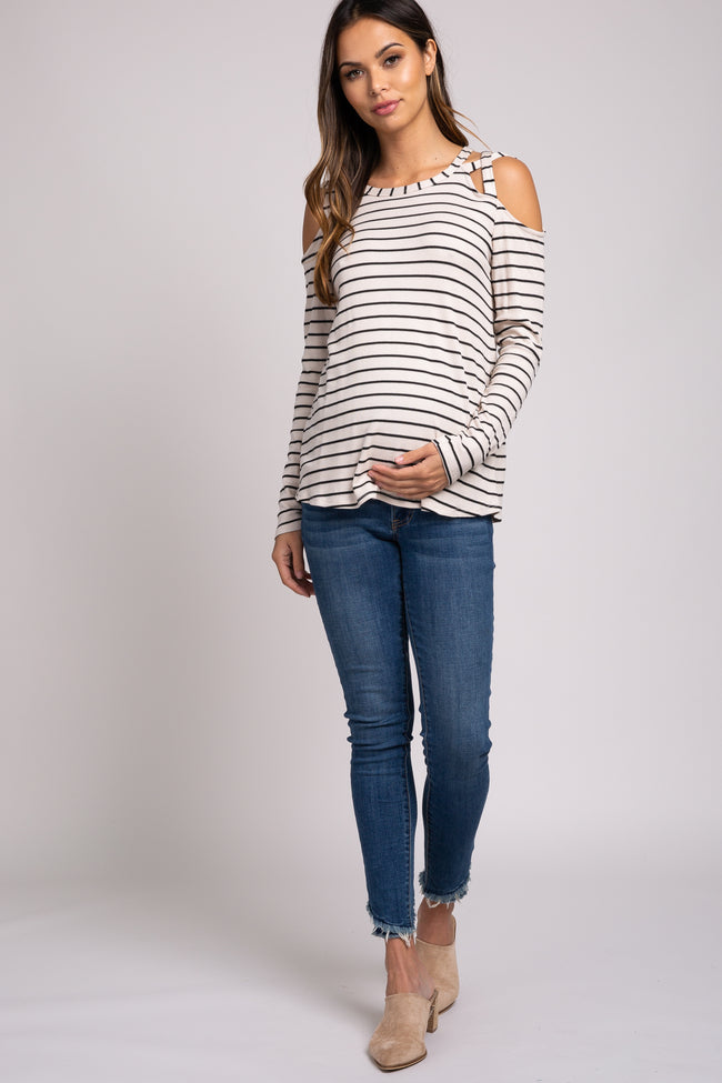 Beige Striped Crisscross Shoulder Long Sleeve Maternity Top