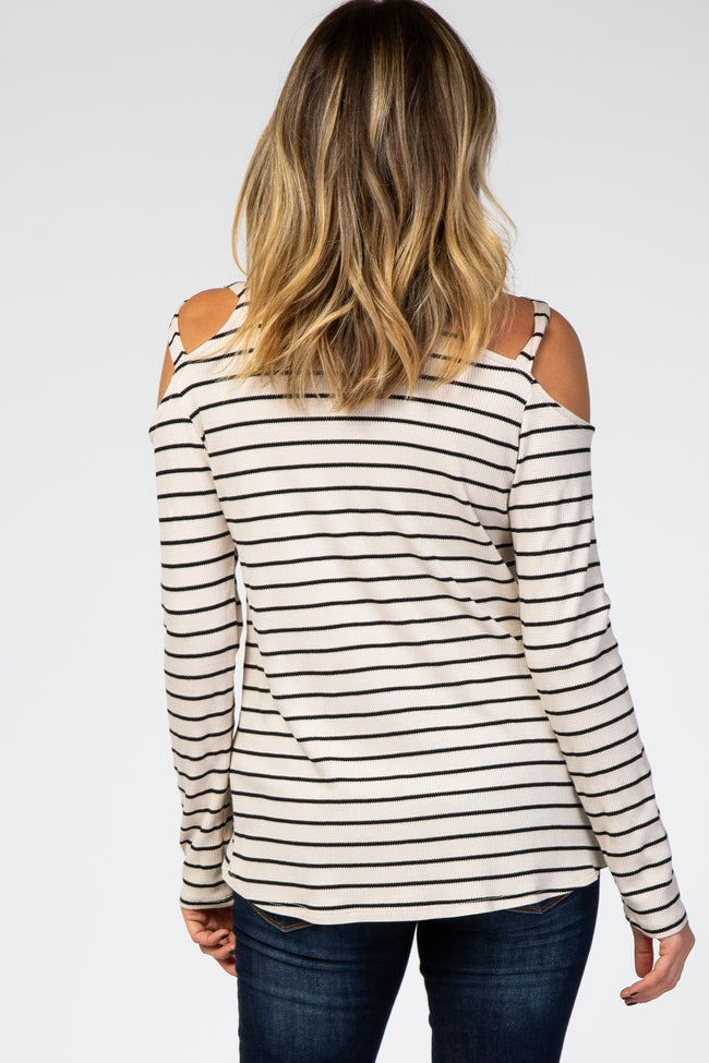 Beige Striped Crisscross Shoulder Long Sleeve Top